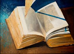 Évangile, huile sur toile - Arcabas