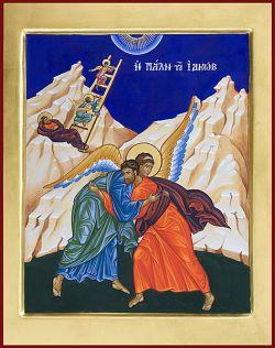 Le icone di Bose, Lotta di Giacobbe. Stile bizantino, tempera all`uovo cm 32x40