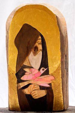 Tempera e oro su vecchia tavola di cipresso, cm 35 x 20