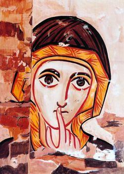 Os ícones de Bose – rosto de mulher – ícone em estilo copta