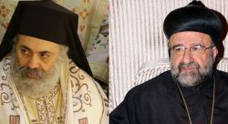 metropolitan Paul Yazigi, Greek-Orthodox archbishop of Aleppo and Alessandretta (left); metropolitan John Ibrahim, Syro-Orthodox archbishop of Aleppo (right)