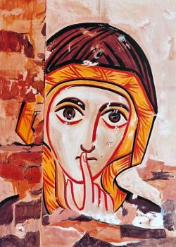 The icons of Bose - Woman's face - Coptic style - egg tempera on wood