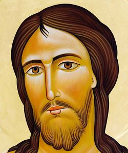Tempera all'uovo su tavola, particolare del Cristo in Croce, Cristo glorioso