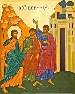 the disciples of Emmaus, icon in Byzantine style