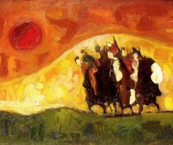 TRENTO LONGARETTI, En fuite sur une colline jaune  -  Huile sur toile cm 50x70, 2001