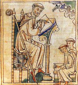 San Bernardo e i suoi discepoli, miniatura inglese del XIII sec.