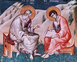 John and Prochorus, fresco - Mount Athos