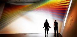 Gabriel Dawe, plexus, legno, ganci e fili colorati, 2017